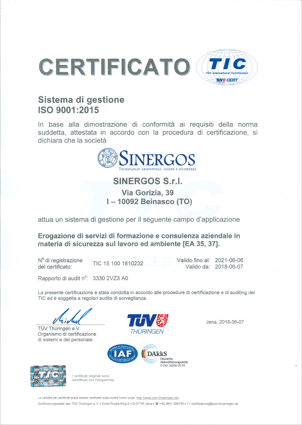 Certificato ISO 9001:2015 Sinergos